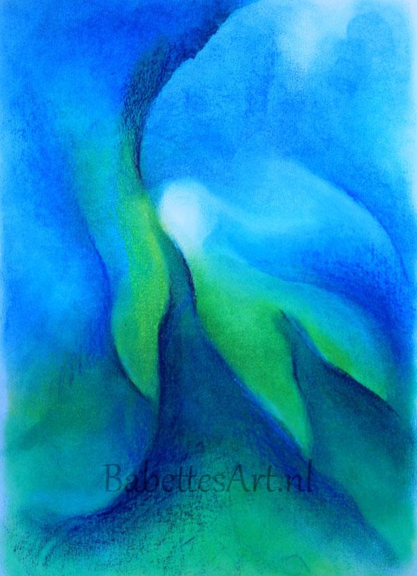 Oliepastel blauw groen