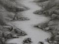 rivierlandschap grafiet